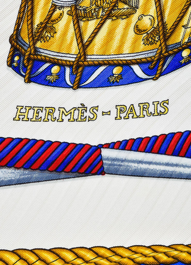 "Hermes Blue, White, and Gold Silk Drum Print ""Les Tambours"" Plisse Diamond Scarf Brand"