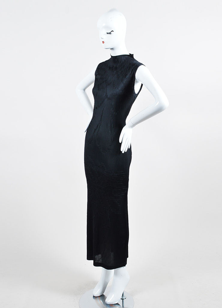 Black Issey Miyake Micro Pleat Textured Sleeveless Stand Collar Maxi Dress Sideview