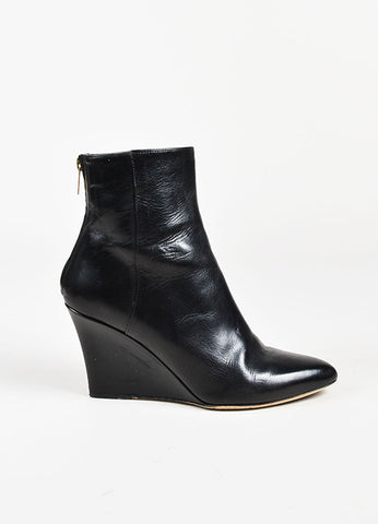 Jimmy Choo Black Leather Pointy Toe Mid Calf Wedge Boots Sideview