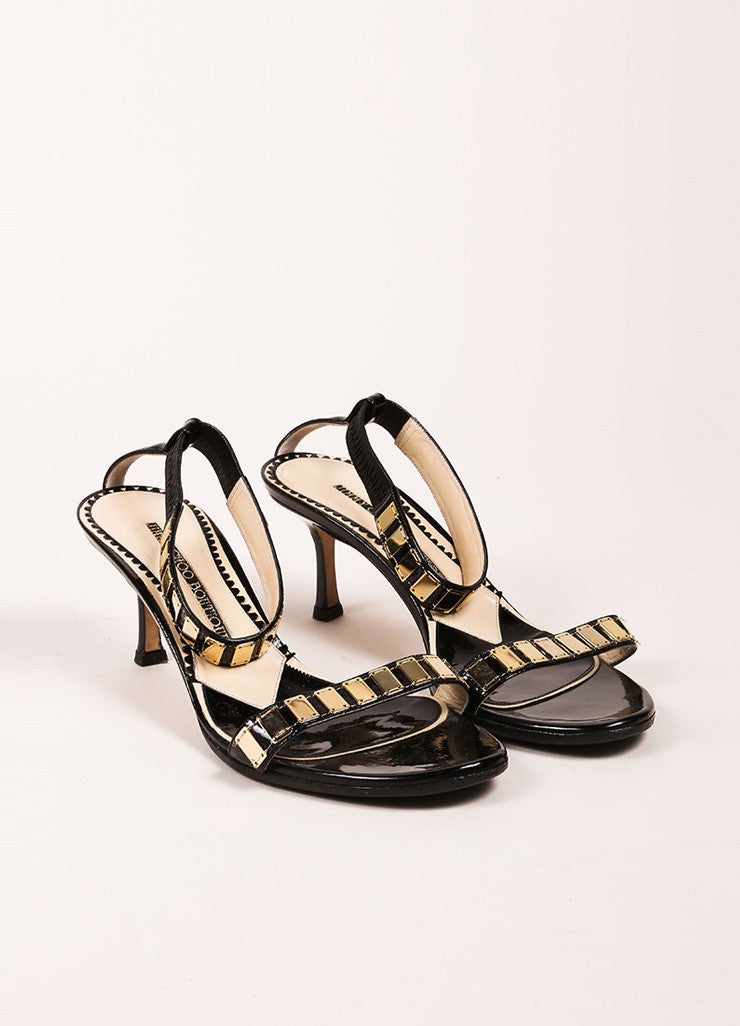 Jimmy Choo Black Patent Leather Gold Toned Embellished Ankle Strap Heels Frontview