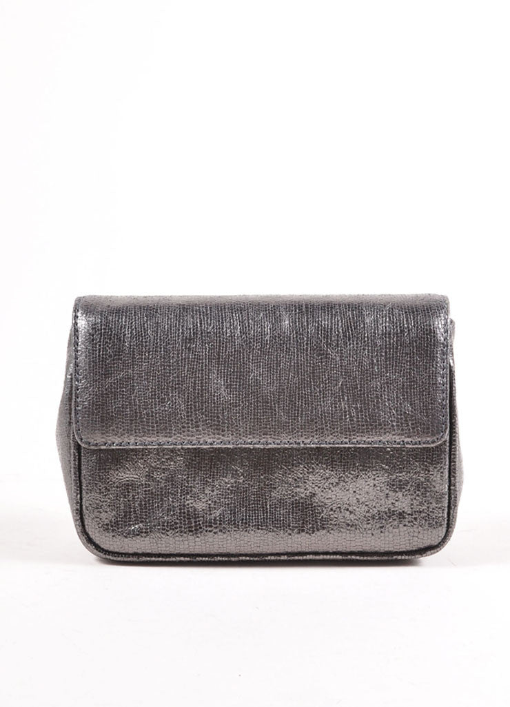 Judith Leiber Grey Metallic Leather Chain Strap Clutch Bag Frontview