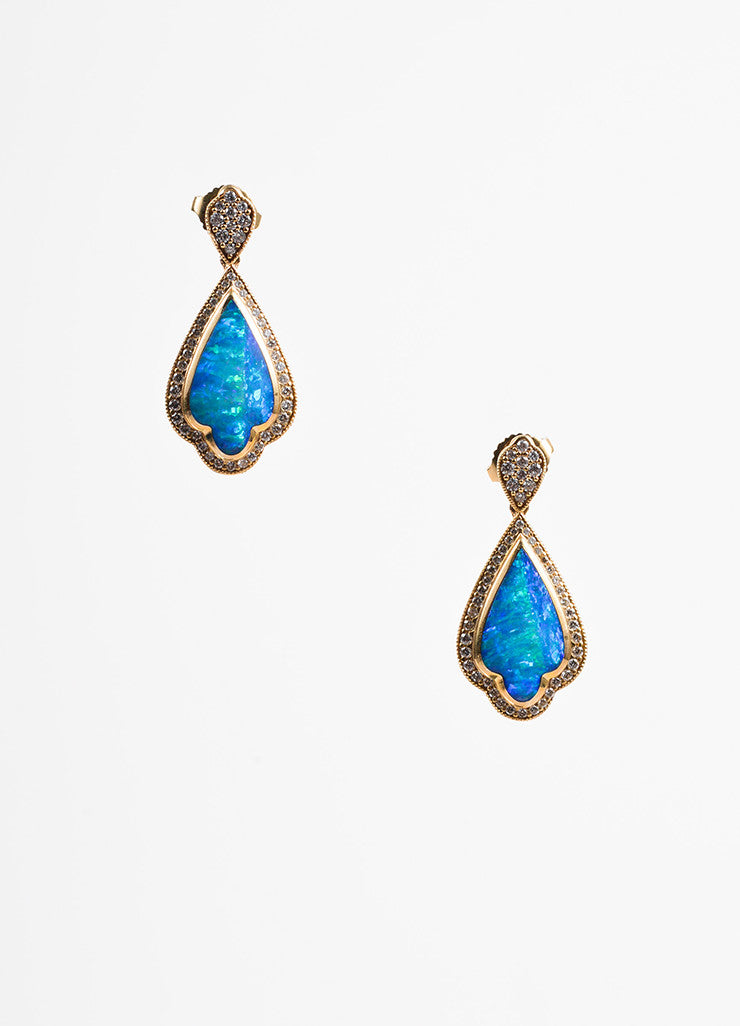 Kabana 14K Yellow Gold Opal Diamond Drop Dangle Post Earrings Frontview