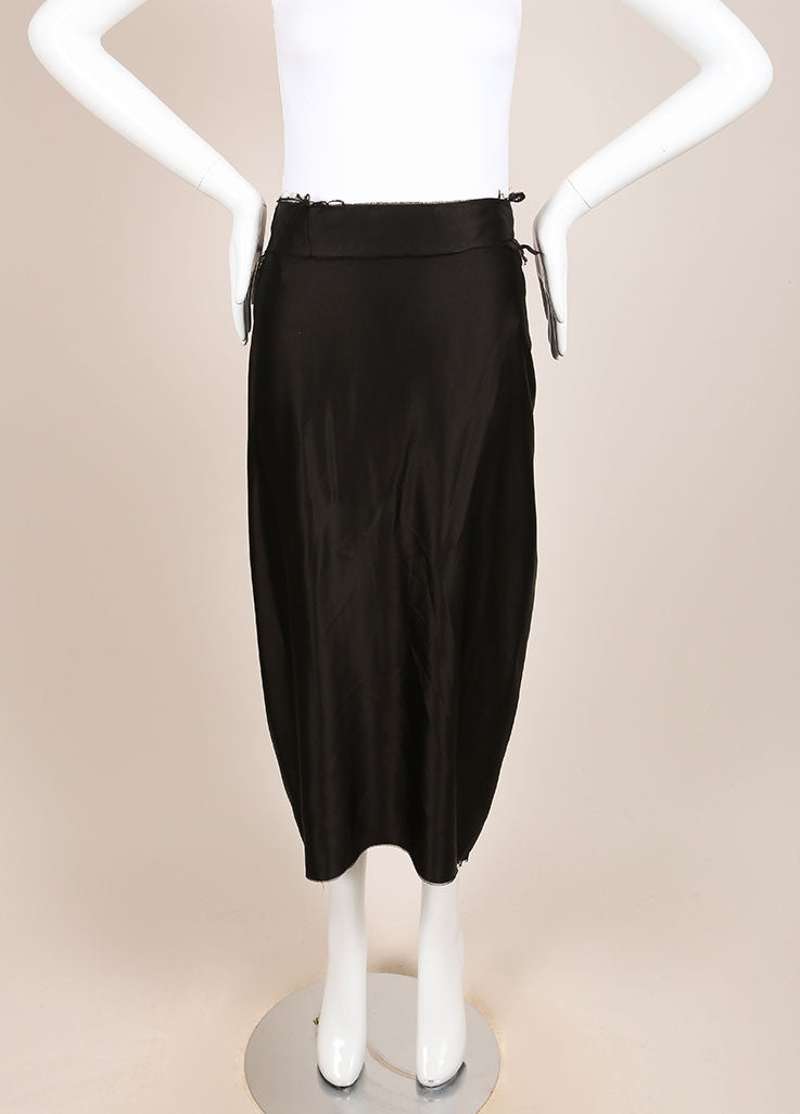 Lanvin Black Silk Satin Ruched Back Unfinished Seam Midi Skirt Frontview