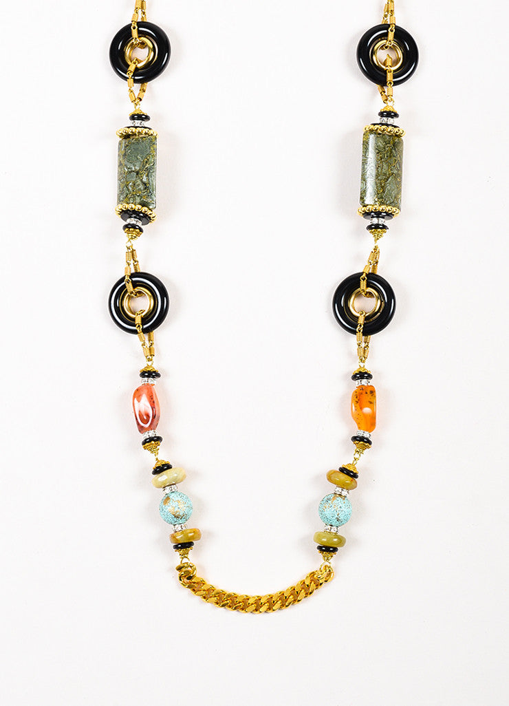 Lawrence VRBA Gold Toned Black Multicolor Stone Beaded Chain Necklace Detail