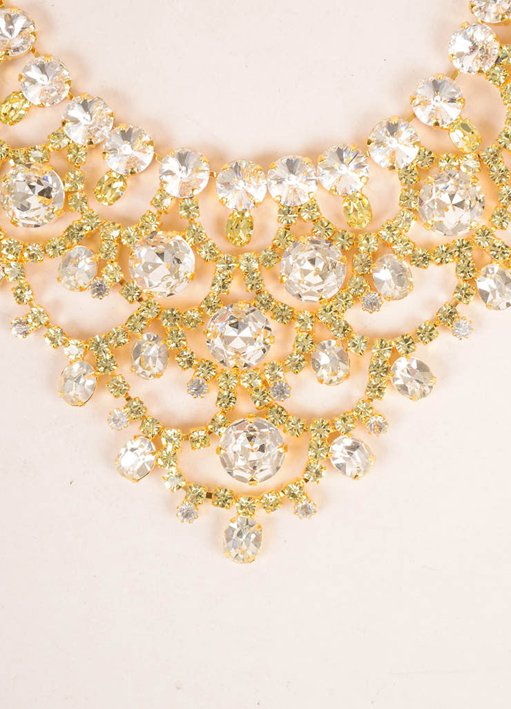 Lawrence Vrba Gold Toned, Clear, and Green Oversized Bib Necklace Detail