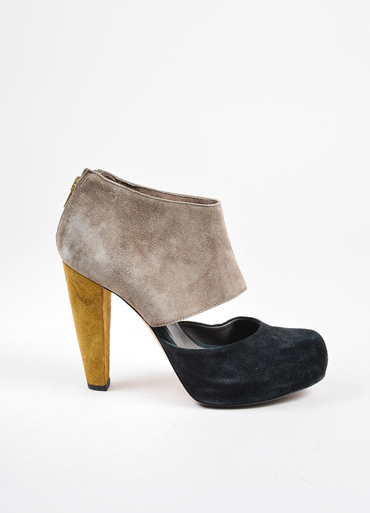 Loeffler Randall Black, Taupe, and Green Suede Color Block Heels Sideview