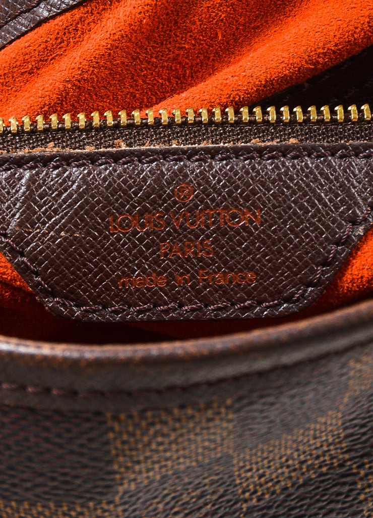 "Louis Vuitton Brown and Gold Toned ""Damier Ebene"" Coated Canvas ""Petit Bucket"" Bag brand"