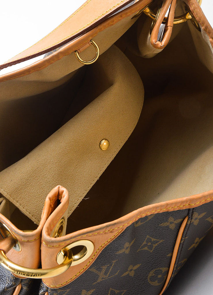 "Brown and Tan Louis Vuitton Coated Canvas and Leather Monogram ""Galliera PM"" Hobo Bag Interior"