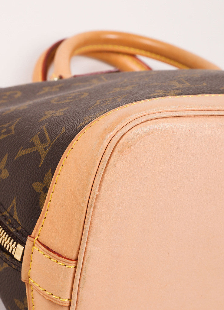 "Louis Vuitton Brown and Tan Coated Canvas Leather Monogram Logo ""Alma"" Handbag Detail"