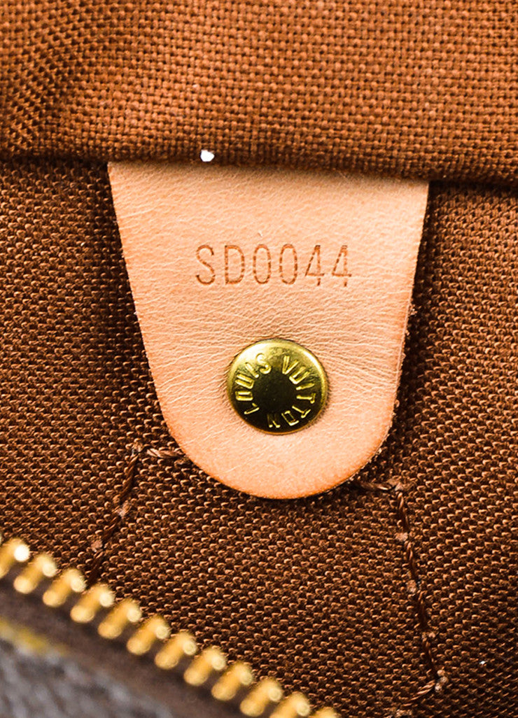 "Louis Vuitton Brown Tan Coated Canvas and Leather Monogram ""Speedy 30"" Bag Date Code"