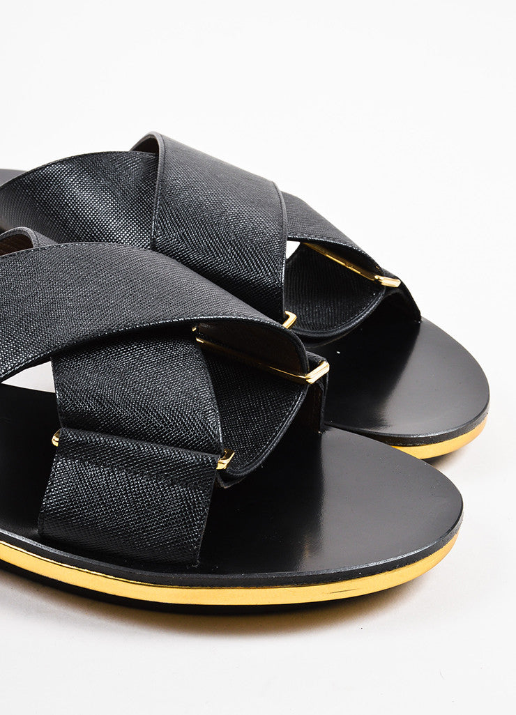 Marni Black and Metallic Gold Saffiano Leather Crisscross Flat Sandals Detail