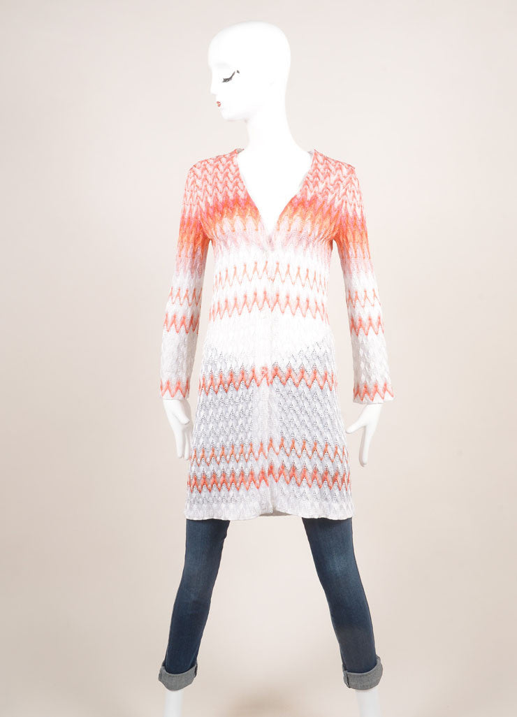 Missoni New With Tags Orange and White Zig Zag Knit Button Down Long Cardigan Frontview