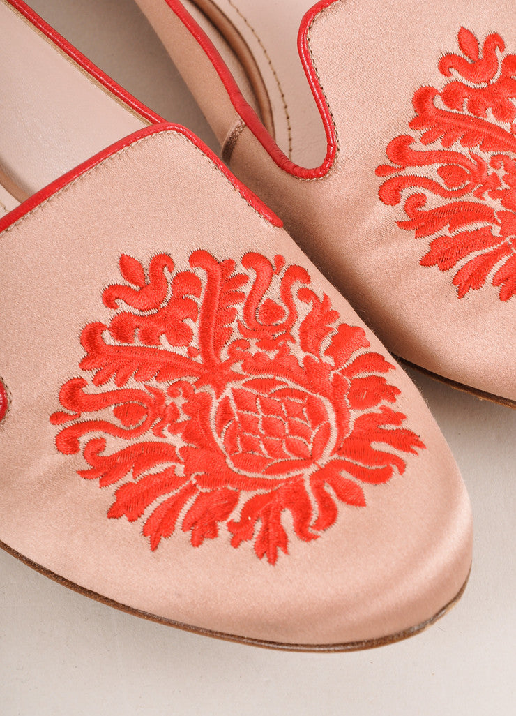 Pink, Red, and Silver Toned Embroidered Satin Loafer Flats