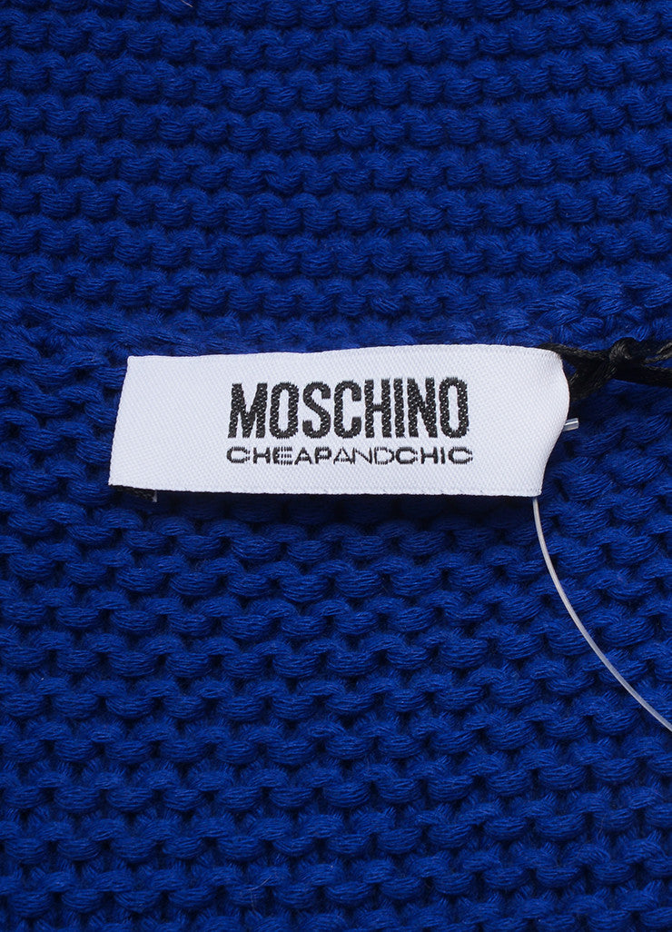 Moschino Cheap and Chic New With Tags Blue Cotton Shell Embellished Sweater Brand