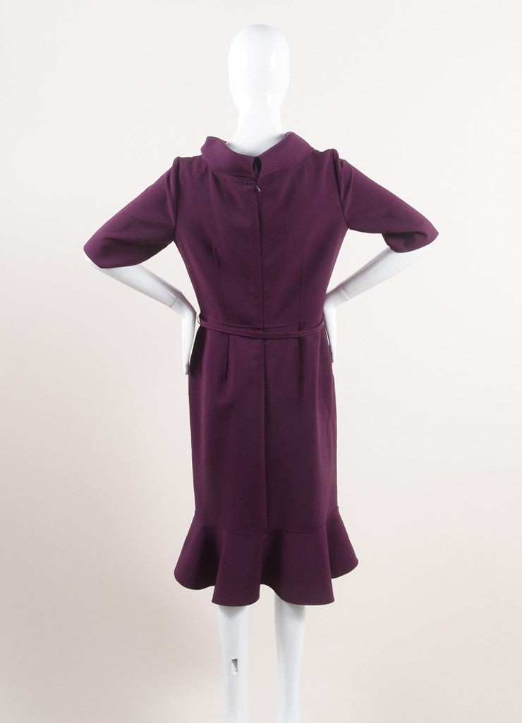 Oscar de la Renta New With Tags Purple Wool Rolled Collar Belted Dress Backview
