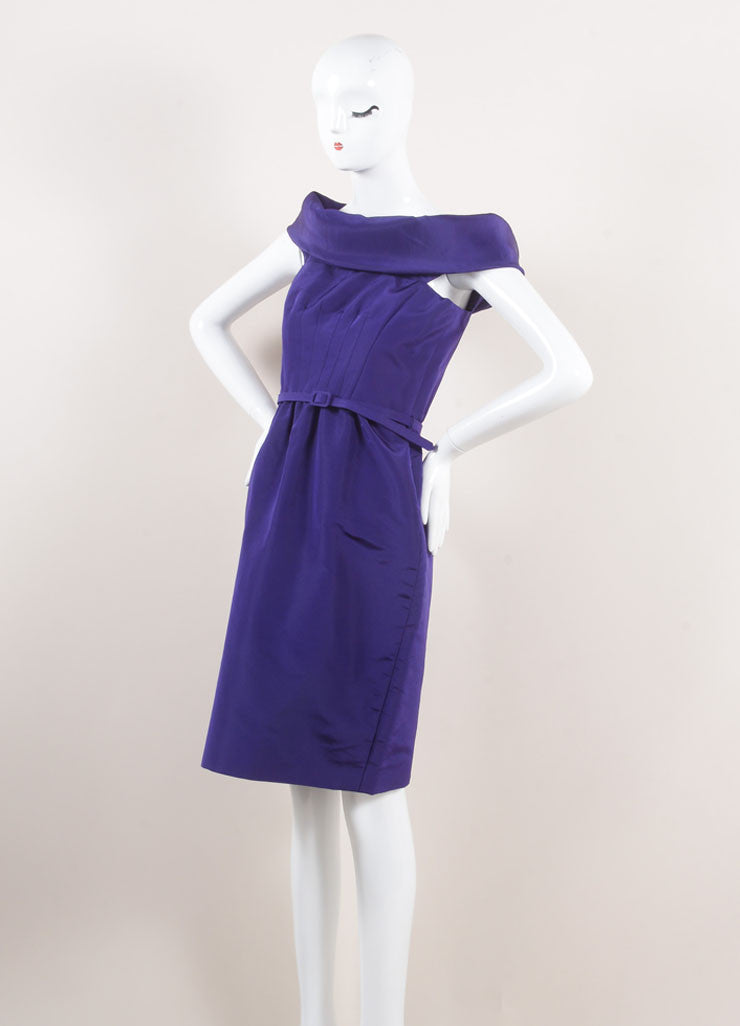 Oscar de la Renta New With Tags Purple Off Shoulder Silk Faille Sheath Dress Sideview