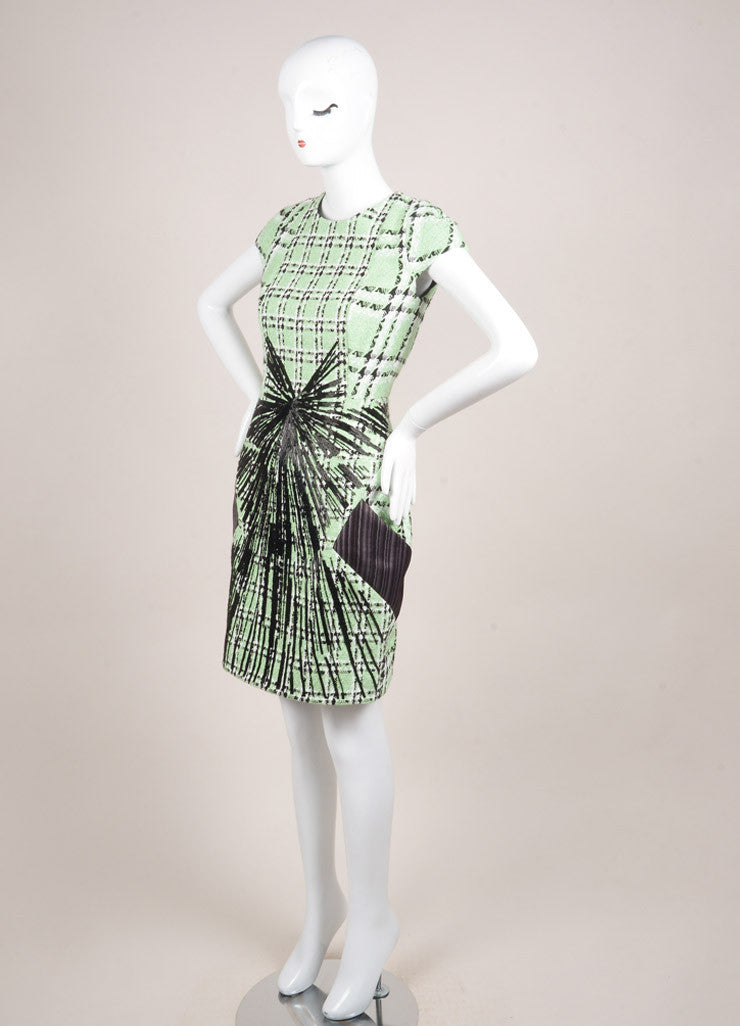 "Peter Pilotto New With Tags Light Green and Black Tweed Woven Plaid ""Zoom"" Dress Sideview"