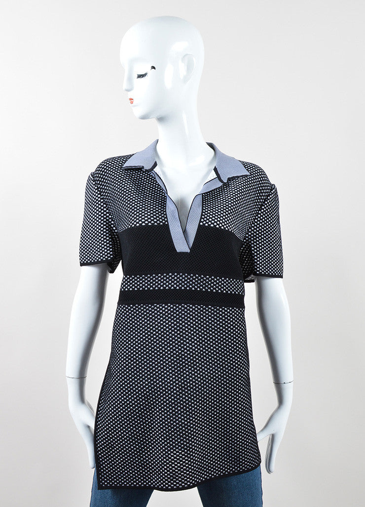 Proenza Schouler Black and White Pique Asymmetrical Short Sleeve Polo Top Frontview