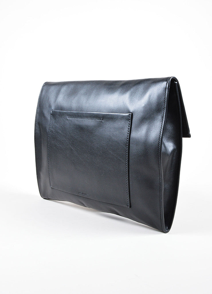Black Reed Krakoff  Leather Flap Large Clutch Sideview