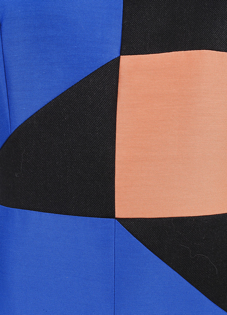Roksanda Ilincic New Charcoal Grey, Blue, and Orange Midi Villare Dress Detail 2