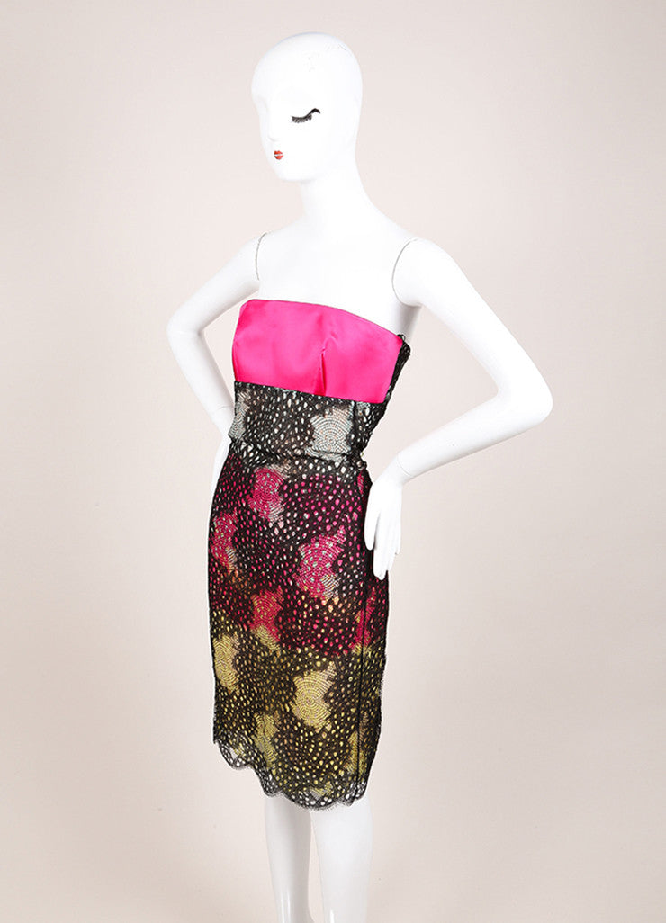 "Roland Mouret New With Tags Black and Pink Satin Strapless ""Poinsettia"" Dress Sideview"