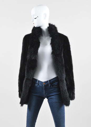 Black Saga Mink Fur High Collar Long Sleeve Fur Coat Frontview