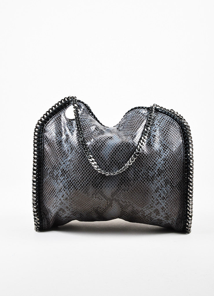"Stella McCartney Black and Grey Python Embossed Faux Leather Small ""Falabella"" Bag Frontview"
