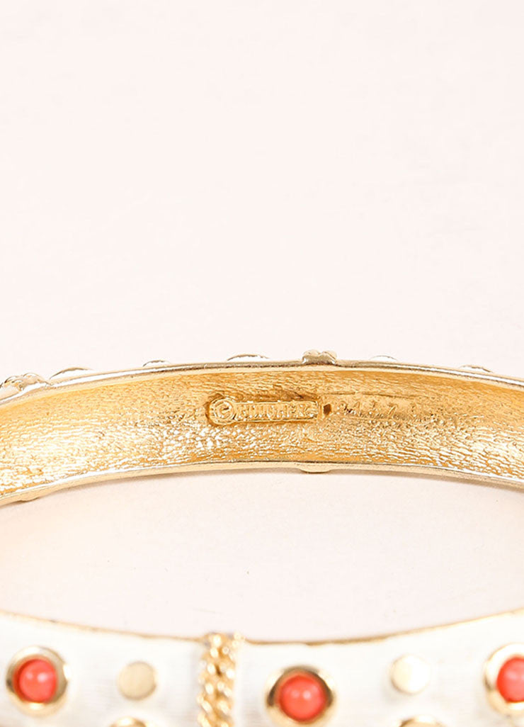Boucher Gold Toned, White, and Coral Lucite Studded Bangle Bracelet Brand