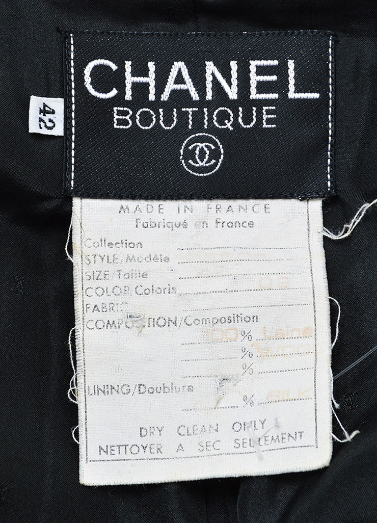 Black and Gold Chanel Wool and Velvet 'CC' Button Double Breasted Jacket Brand
