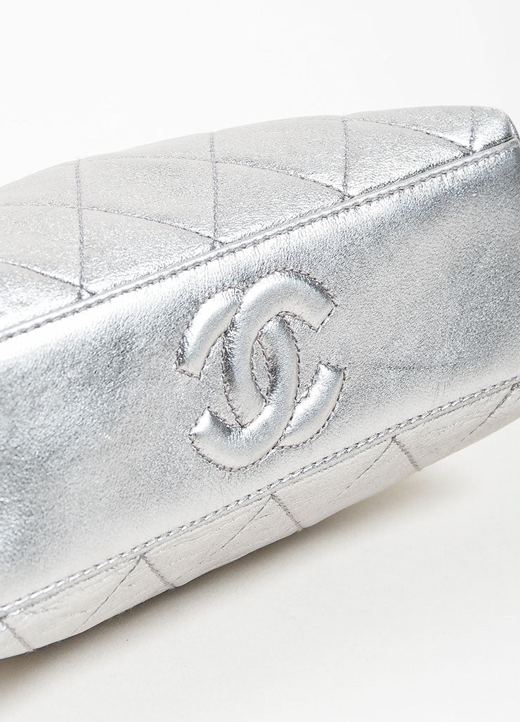 Metallic Silver Chanel Leather Quilted Crossbody Chain Frame Evening Bag Bottom View