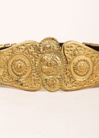 Daniele B. Munchen Gold Toned Etched Metal Decorative Waist Belt Detail