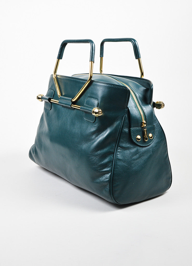 "Hunter Green Viktor & Rolf Leather Top Handle ""Bombette"" Satchel Bag Sideview"
