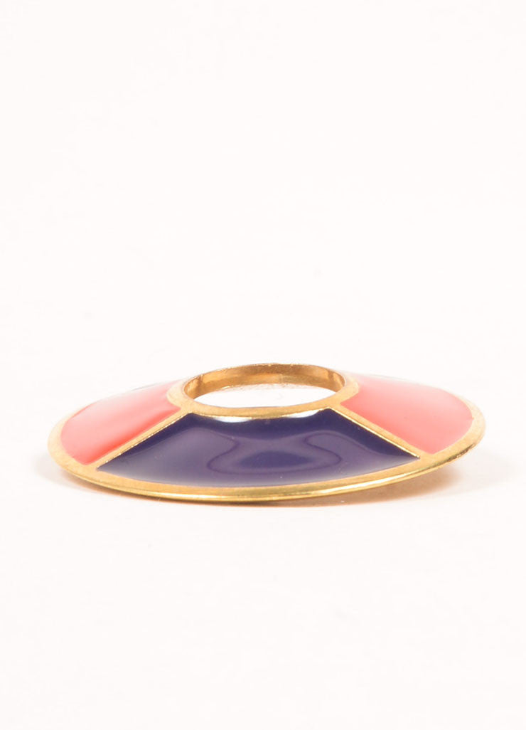 Yves Saint Laurent Gold Toned, Navy, and Red Enamel Color Block Circle Brooch Pin Sideview