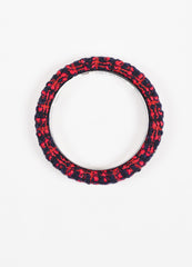 Chanel Red and Navy Tweed 'CC' Bangle Bracelet Topview
