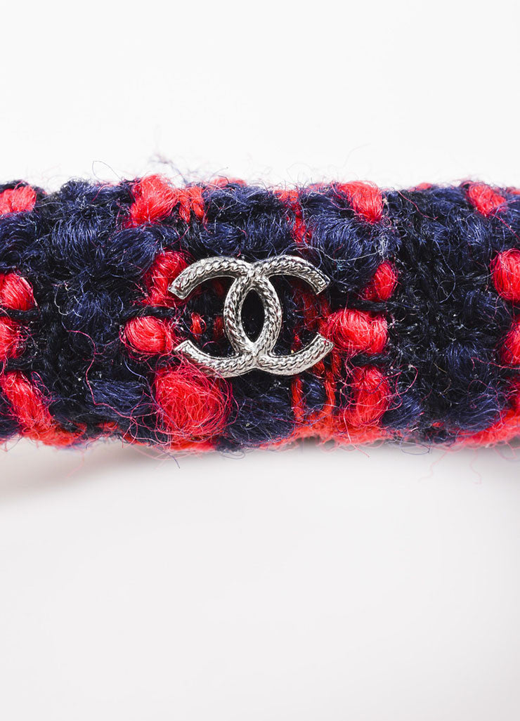 Chanel Red and Navy Tweed 'CC' Bangle Bracelet Detail