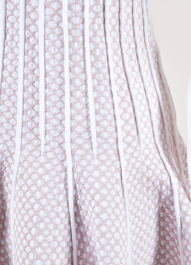 Alaia Light Pink and White Stretch Knit Scoop Neck Spotted Flare Dress Detail