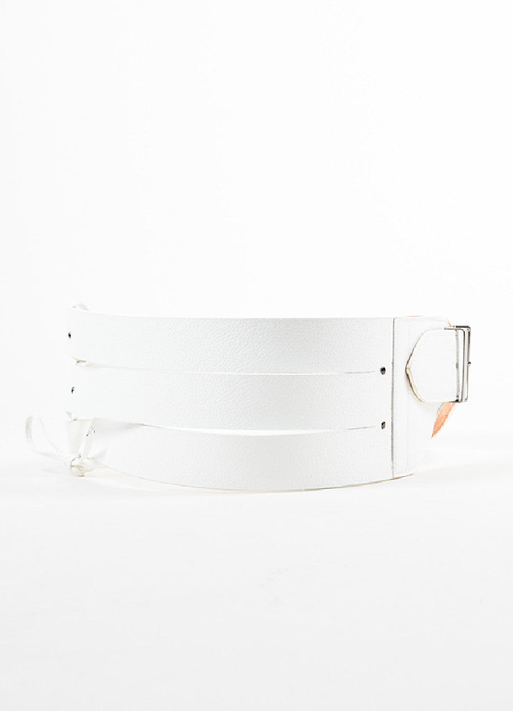 Alaia White Leather Triple Strap Corset Tie Buckle Waist Belt Frontview