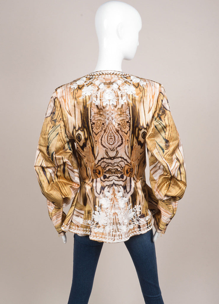 Alexander McQueen New With Tags Wood Grain Print Floral Embroidered Jacket Backview