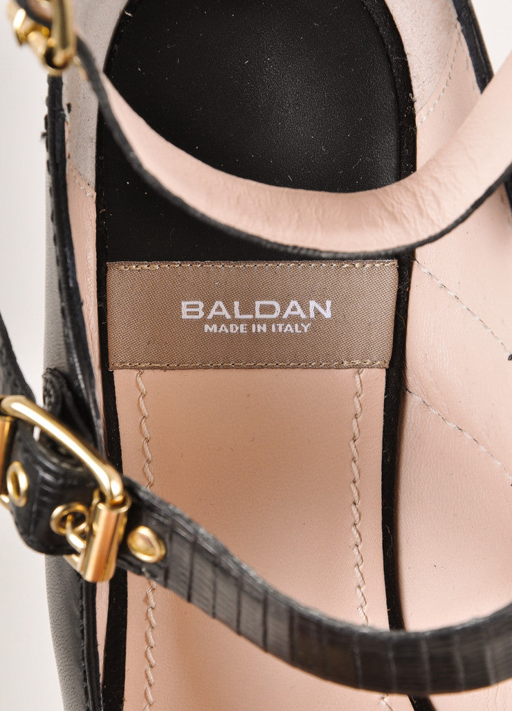 Baldan Black and Gold Toned Triple Buckled Strap Leather and Satin Wedges Brand