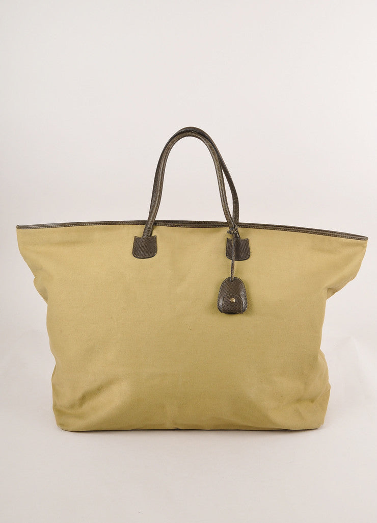 Bottega Veneta Olive Green Canvas and Leather Weekender Tote Bag Frontview