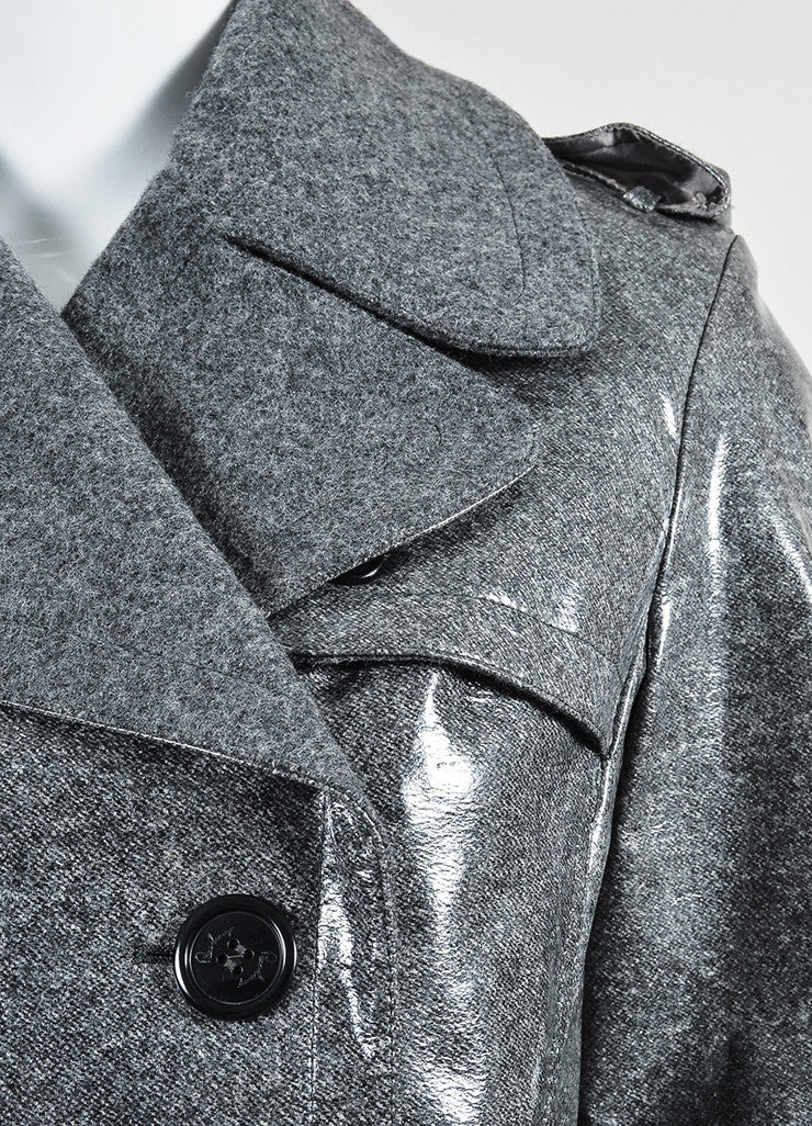 Grey Burberry Coated Wool Double Breasted Belted Trench Coat Detail