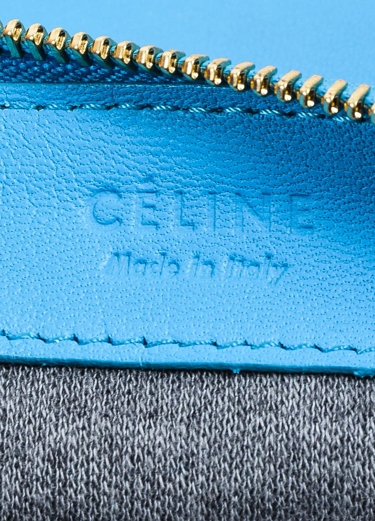 "Turquoise Celine Lambskin Leather ""Trio"" Crossbody Bag Brand"