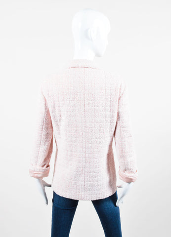 Pink and White Chanel Boucle Knit 'CC' Button Jacket Backview
