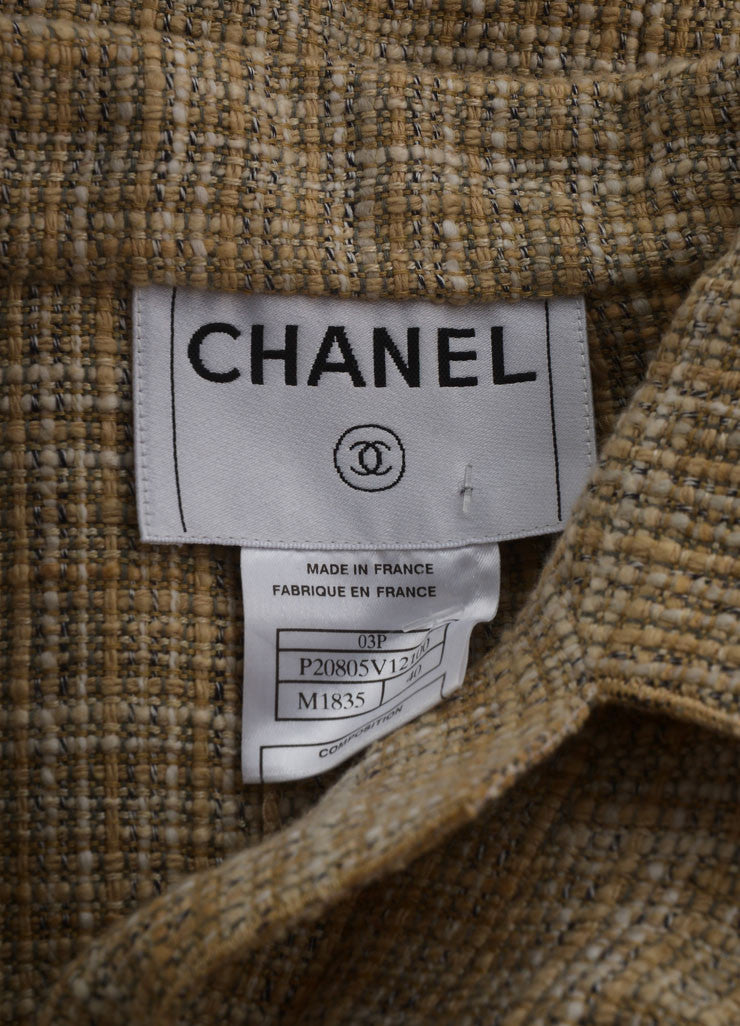 "Chanel New With Tags Beige Linen Faux Pearl ""CC"" Button Jacket Brand"