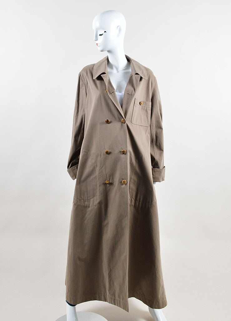 "Chanel Grey ""CC"" Button Double Breasted Ankle Length Trench Coat Frontview"