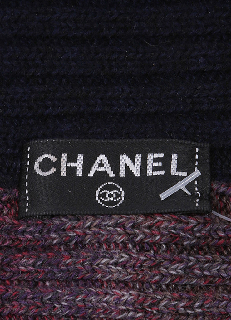 Chanel Purple and Navy Blue Knit Sweater Headband  Brand