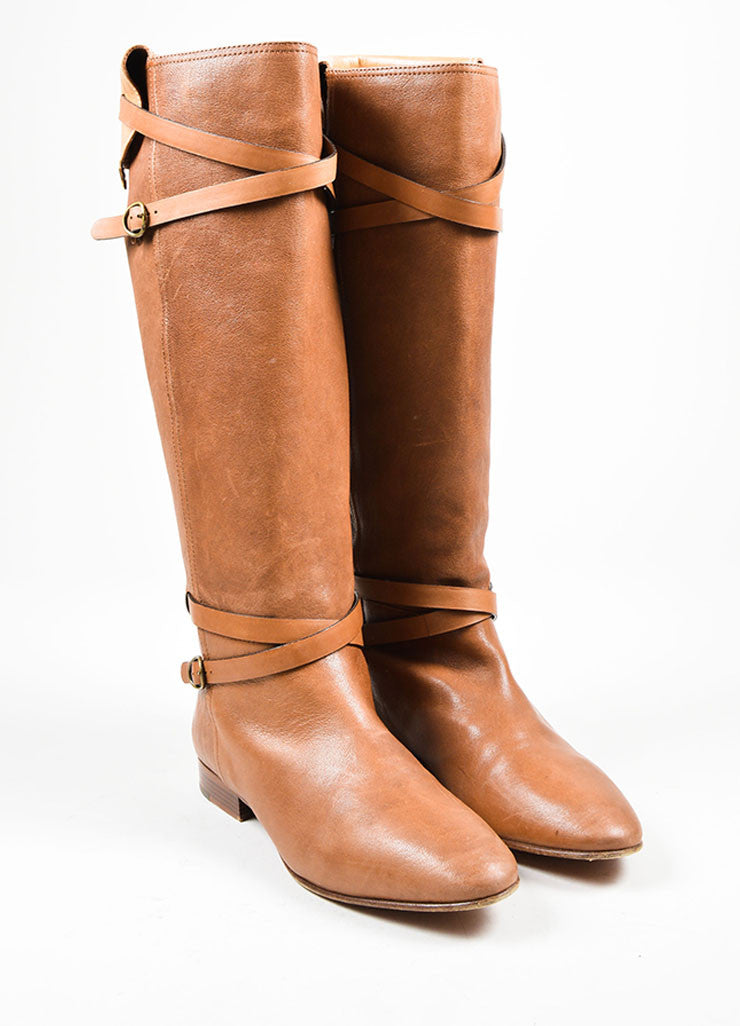 Chloe Brown Strap Buckle Knee High Boots Frontview
