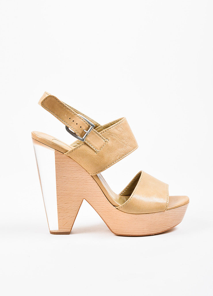 Chloe Tan Leather Wooden Lucite Platform Chunky Heel Sandals Sideview