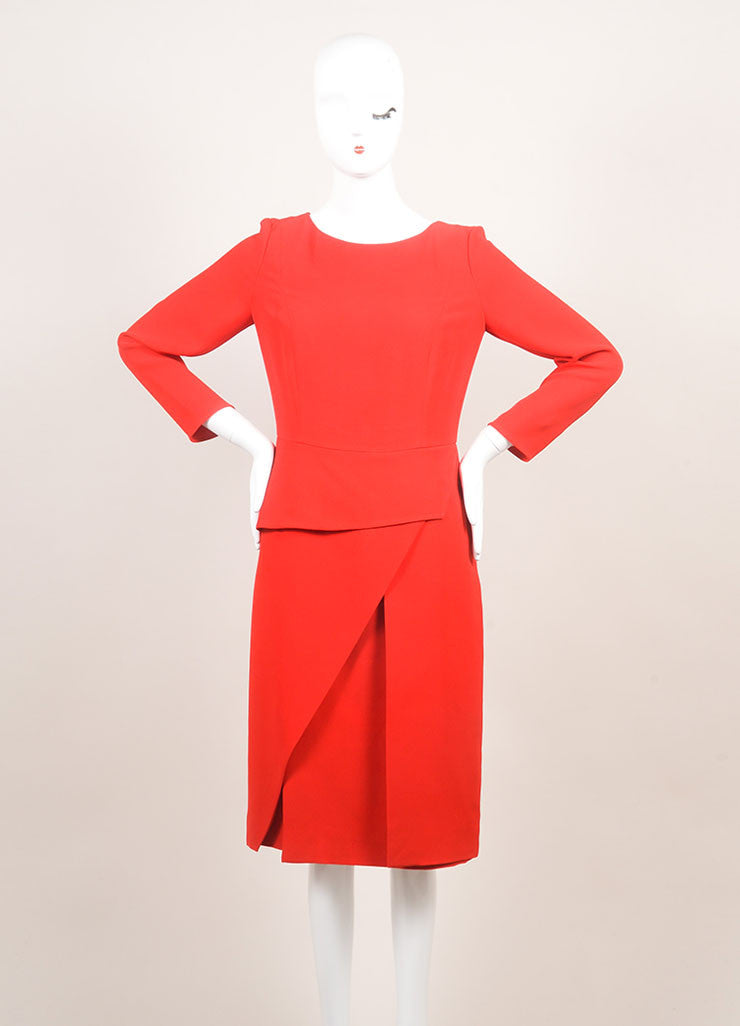 Christian Dior New With Tags Red Silk Long Sleeve Asymmetrical Peplum Dress Frontview