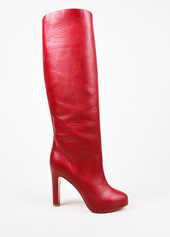 "Christian Louboutin Red Leather ""Vicky Botta"" Tall Heeled Boots Sideview"